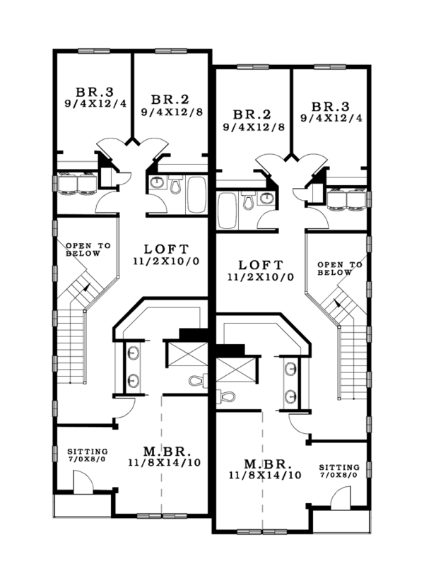 Craftsman Floor Plan - Upper Floor Plan Plan #943-37