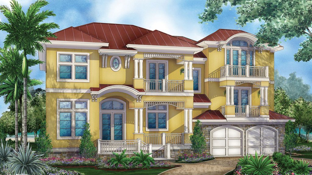 Mediterranean style house plan 4 beds 5 5 baths 4745 sq for 3 level house