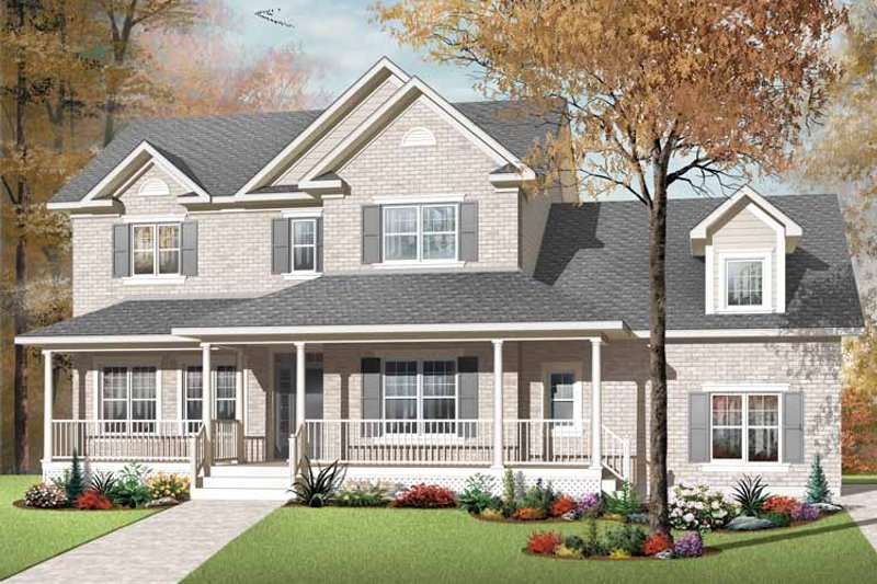 Country Exterior - Front Elevation Plan #23-2556
