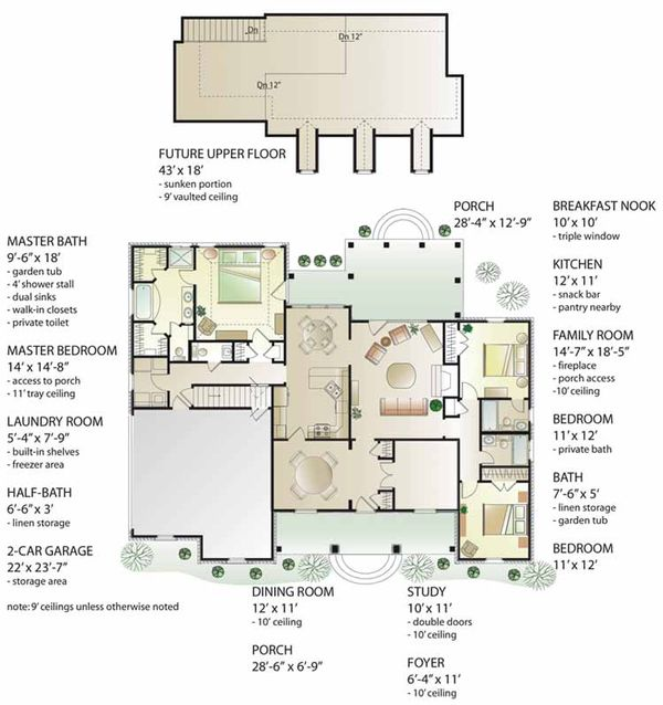 Country Floor Plan - Main Floor Plan Plan #406-9629