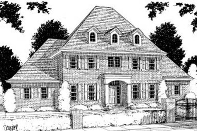 Southern Exterior - Front Elevation Plan #20-195