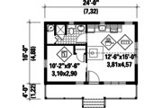 Cabin Style House Plan - 1 Beds 1 Baths 384 Sq/Ft Plan #25-4565 Floor Plan - Main Floor