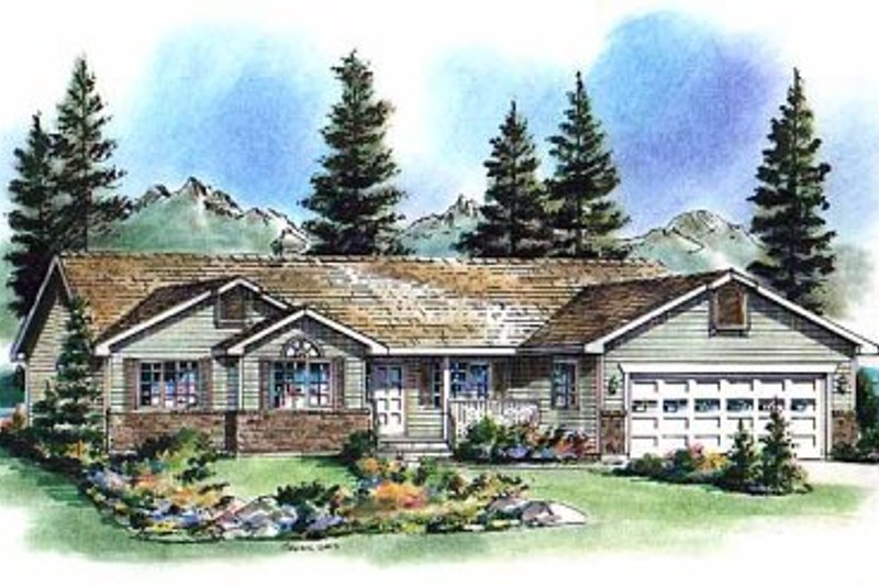 Ranch Exterior - Front Elevation Plan #18-193