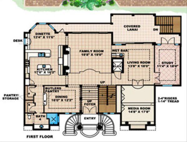 Mediterranean Floor Plan - Main Floor Plan Plan #27-396