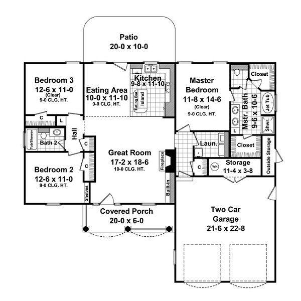 Dream House Plan - Traditional Floor Plan - Main Floor Plan #21-215