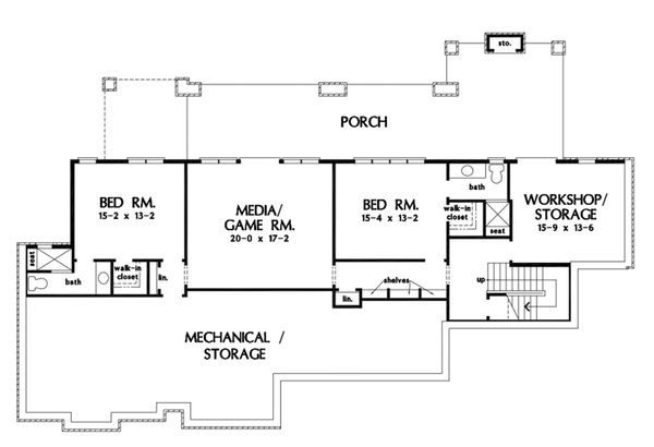 Craftsman Floor Plan - Lower Floor Plan Plan #929-1072