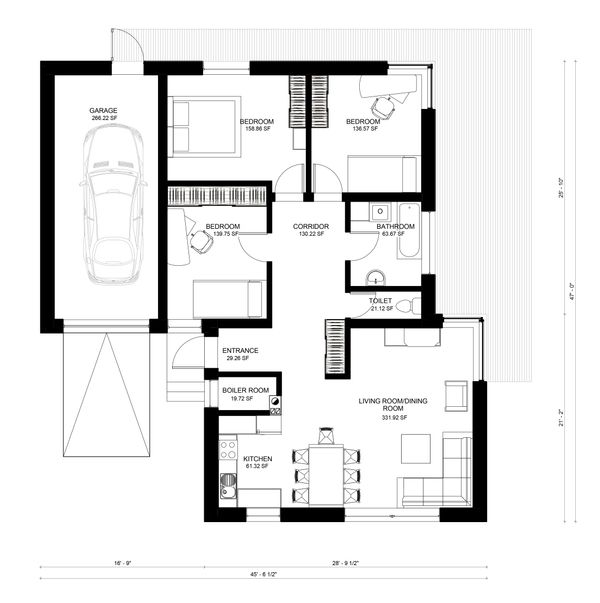 Bungalow Floor Plan - Main Floor Plan Plan #906-7