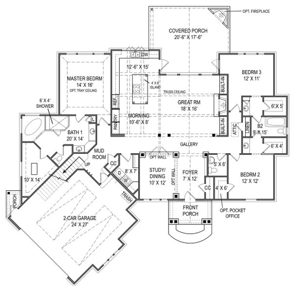 Craftsman Floor Plan - Main Floor Plan Plan #119-416