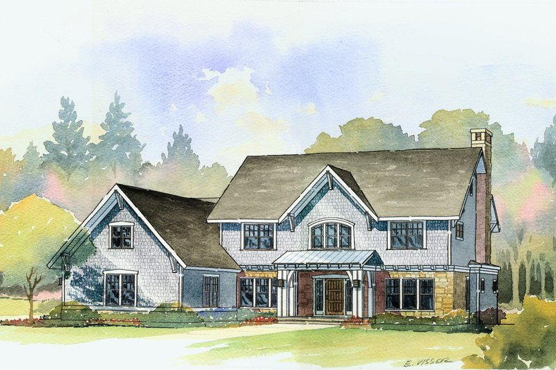Traditional Style House Plan - 4 Beds 3.5 Baths 3488 Sq/Ft Plan #901-21 Exterior - Front Elevation
