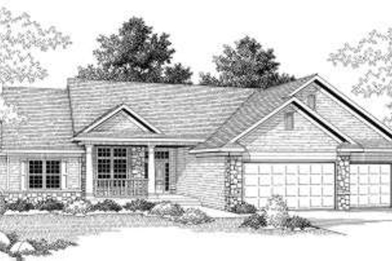 Ranch Style House Plan - 3 Beds 2.5 Baths 1922 Sq/Ft Plan #70-596 Exterior - Front Elevation