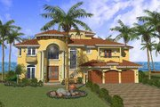 Mediterranean Style House Plan - 5 Beds 6.5 Baths 5016 Sq/Ft Plan #420-161 Exterior - Front Elevation