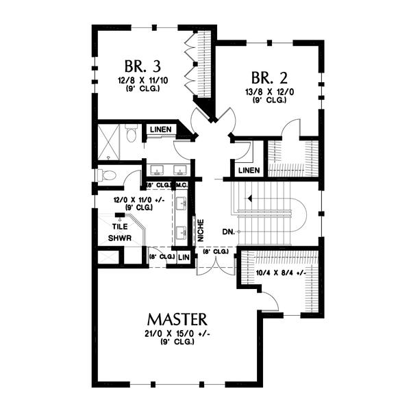Contemporary Floor Plan - Upper Floor Plan Plan #48-991