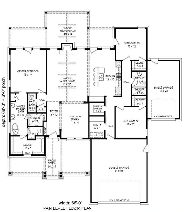 Country Floor Plan - Main Floor Plan Plan #932-138