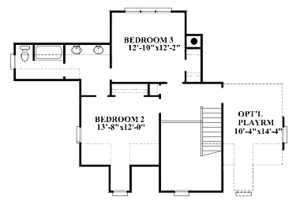Colonial Floor Plan - Upper Floor Plan Plan #991-26