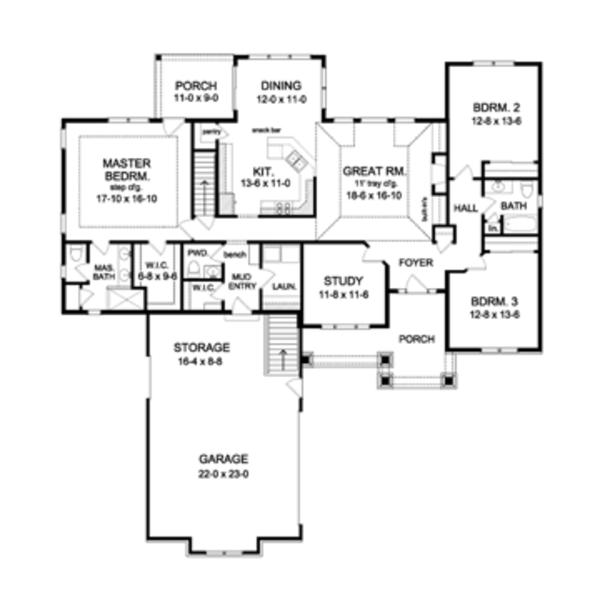 Craftsman Floor Plan - Main Floor Plan Plan #1010-51