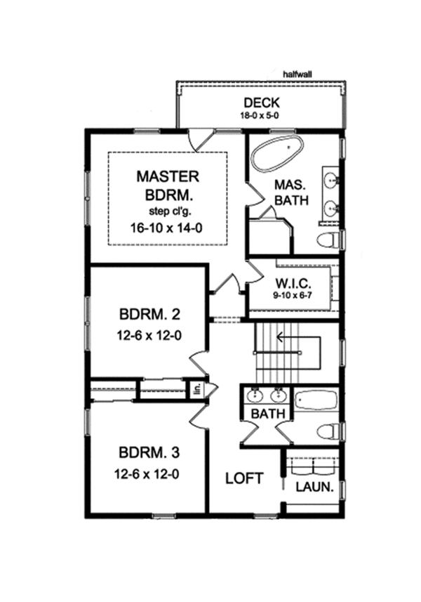 Colonial Floor Plan - Upper Floor Plan Plan #1010-127
