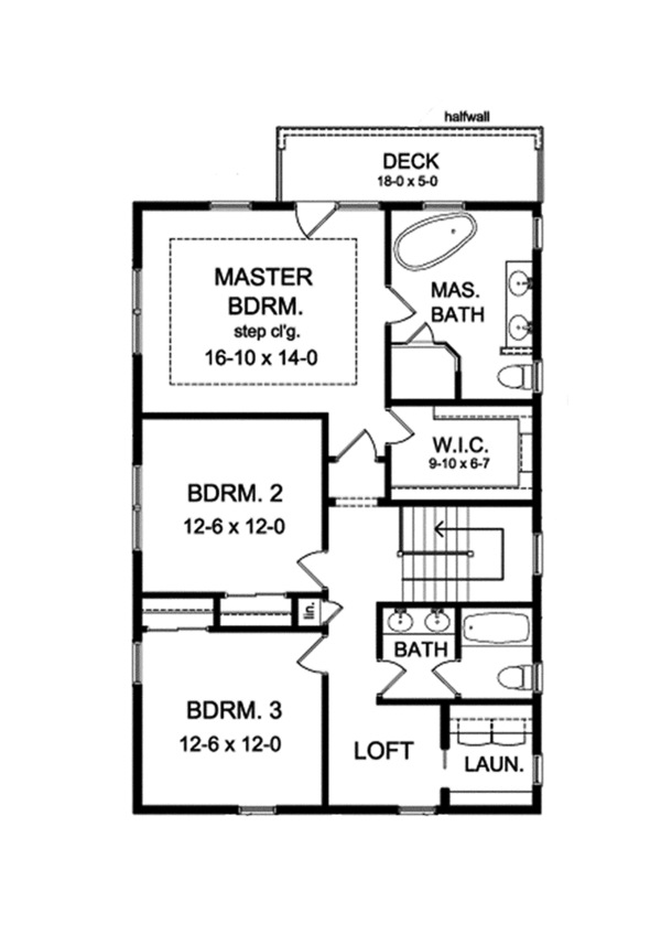 Colonial Floor Plan - Upper Floor Plan Plan #1010-127