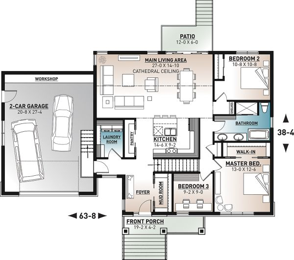 Farmhouse Floor Plan - Main Floor Plan #23-2729
