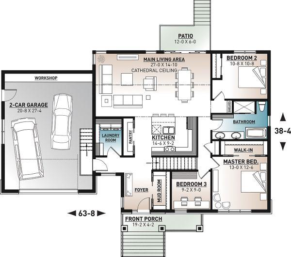 Home Plan - Farmhouse Floor Plan - Main Floor Plan #23-2729