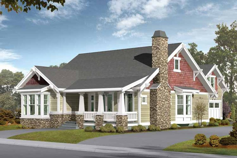 Architectural House Design - Craftsman Exterior - Front Elevation Plan #132-258
