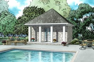 Southern Exterior - Front Elevation Plan #17-2575