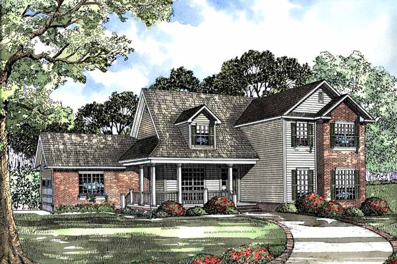 Country Exterior - Front Elevation Plan #17-3071