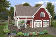 Farmhouse Style House Plan - 1 Beds 1 Baths 792 Sq/Ft Plan #56-575 Exterior - Front Elevation