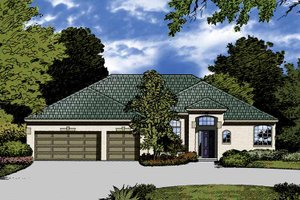 Mediterranean Exterior - Front Elevation Plan #1015-23