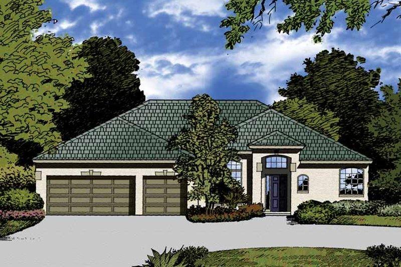 Dream House Plan - Mediterranean Exterior - Front Elevation Plan #1015-23