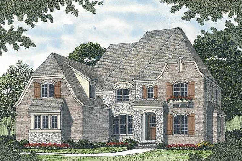 European Exterior - Front Elevation Plan #453-561