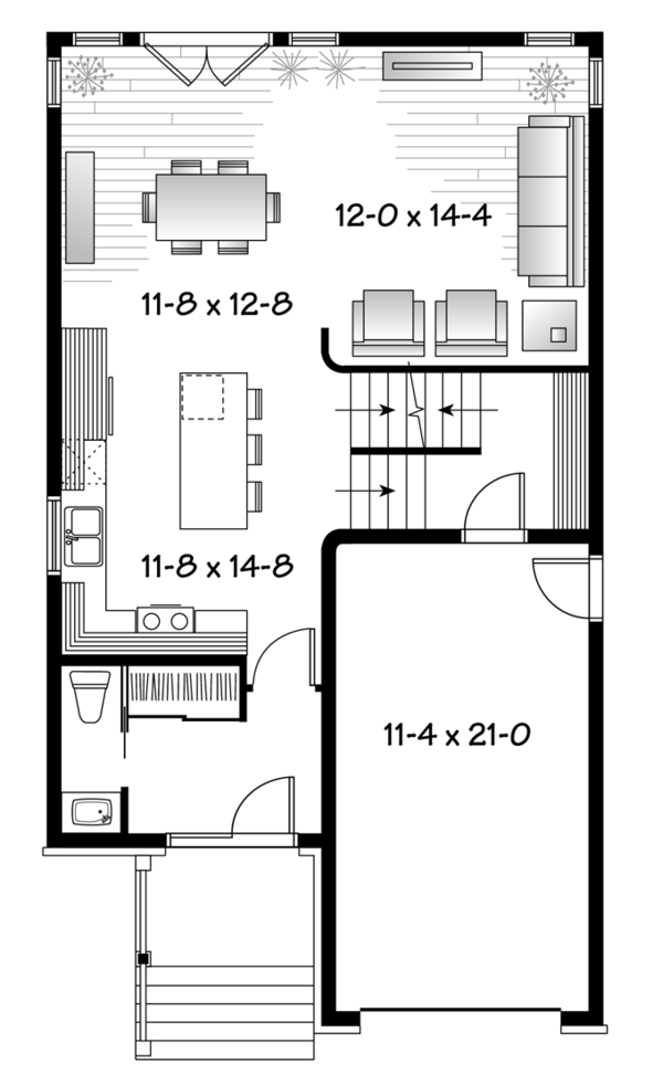 Contemporary Floor Plan - Main Floor Plan Plan #23-2482