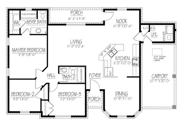 Ranch Floor Plan - Main Floor Plan Plan #1061-29