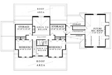Colonial style, Southern design house plan, upper level floorplan