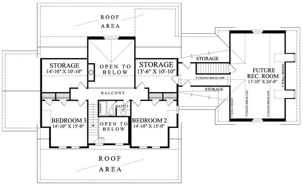 Dream House Plan - Colonial style, Southern design house plan, upper level floorplan