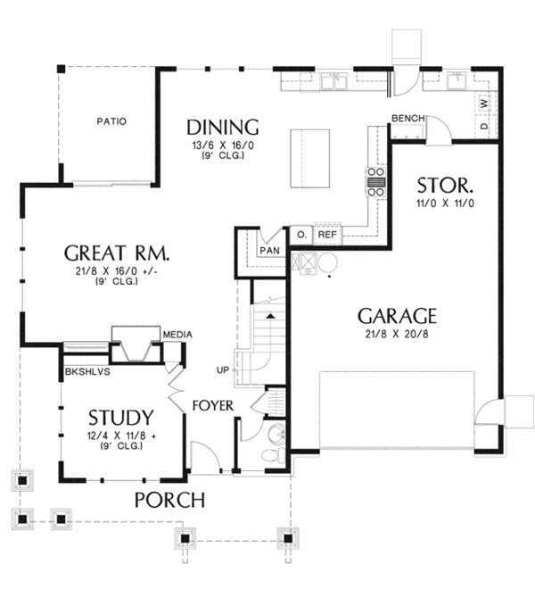 Architectural House Design - Craftsman Floor Plan - Main Floor Plan #48-914
