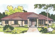 Mediterranean Style House Plan - 3 Beds 2.5 Baths 2692 Sq/Ft Plan #124-348 Exterior - Front Elevation