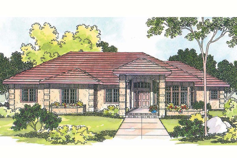 Mediterranean Exterior - Front Elevation Plan #124-348