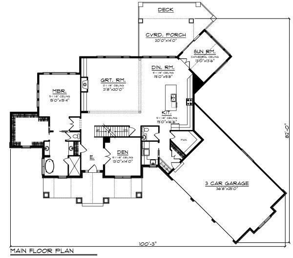Craftsman Floor Plan - Main Floor Plan Plan #70-1487