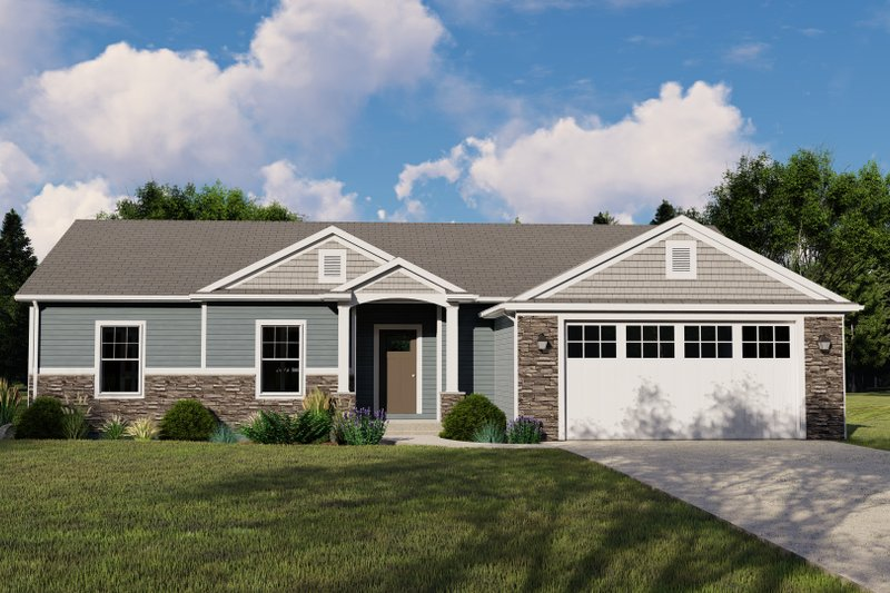 House Plan Design - Craftsman Exterior - Front Elevation Plan #1064-132