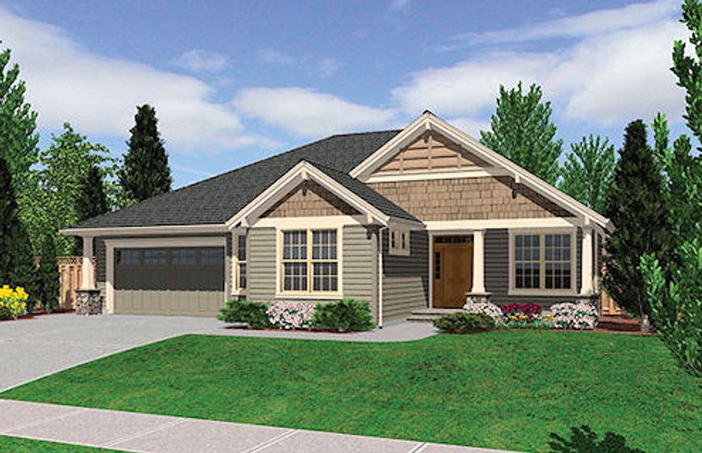 Craftsman style house plan 3 beds 2 baths 2000 sq ft for Craftsman vs mission style