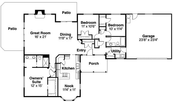 Ranch Floor Plan - Main Floor Plan Plan #124-710