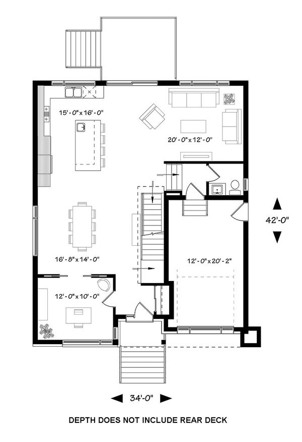 Contemporary Floor Plan - Main Floor Plan Plan #23-2647