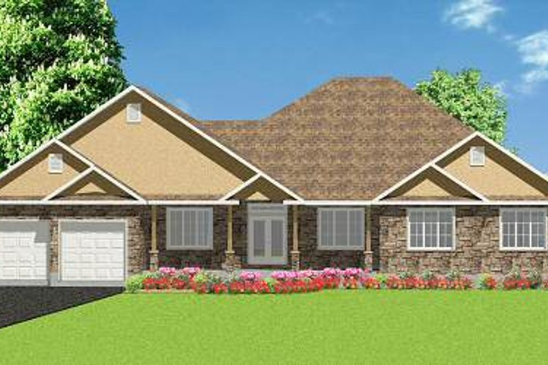 Farmhouse Style House Plan - 3 Beds 2.5 Baths 2900 Sq/Ft Plan #414-115 Exterior - Front Elevation