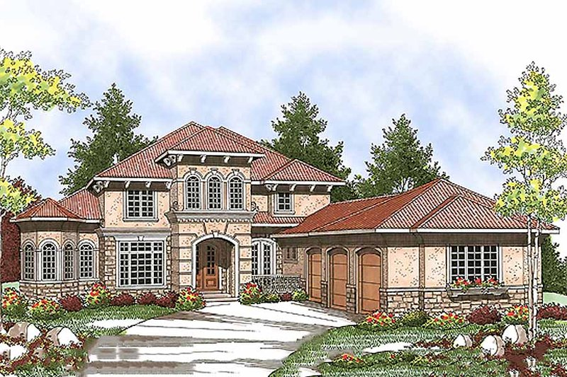 European Style House Plan - 4 Beds 3.5 Baths 3687 Sq/Ft Plan #70-925 Exterior - Front Elevation