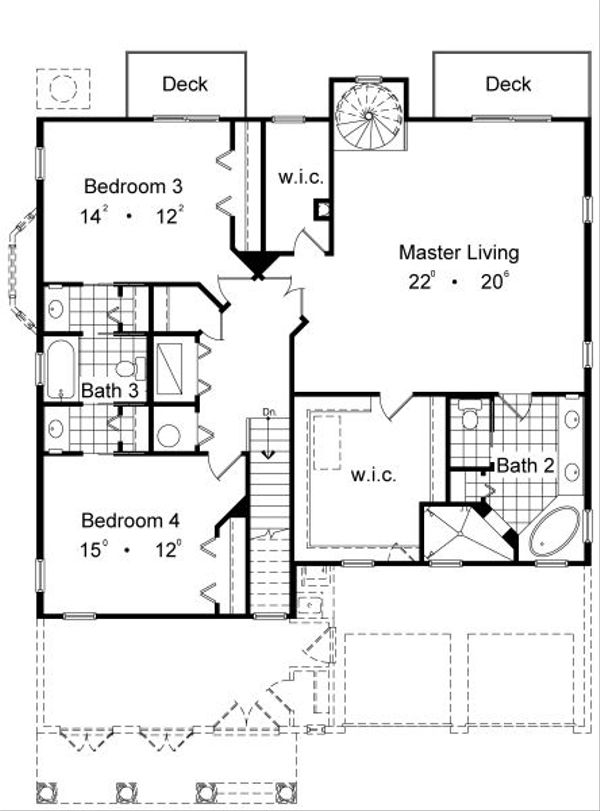 European Floor Plan - Upper Floor Plan Plan #417-356