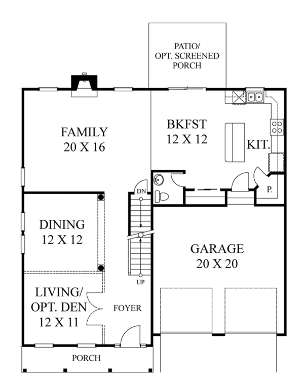 Colonial Floor Plan - Main Floor Plan Plan #1053-54