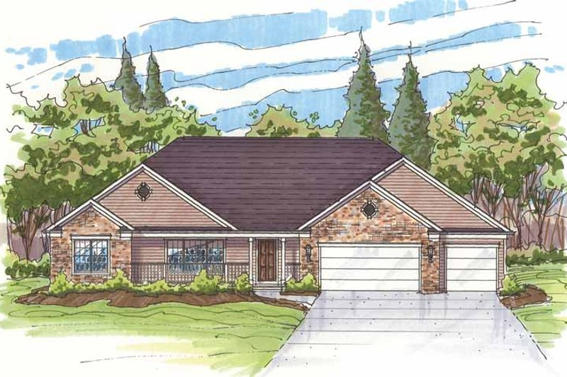 Traditional Exterior - Front Elevation Plan #435-13 - Houseplans.com