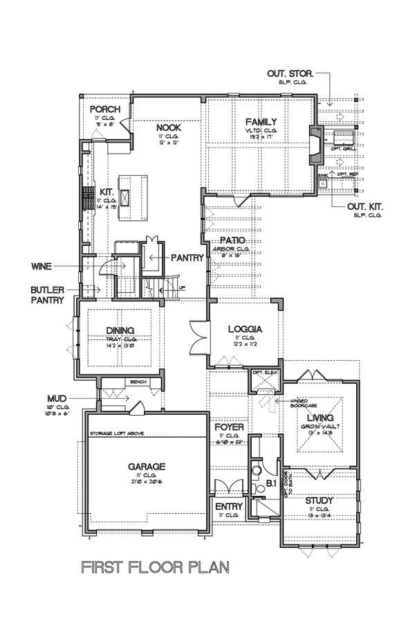 Mediterranean Floor Plan - Main Floor Plan Plan #449-18