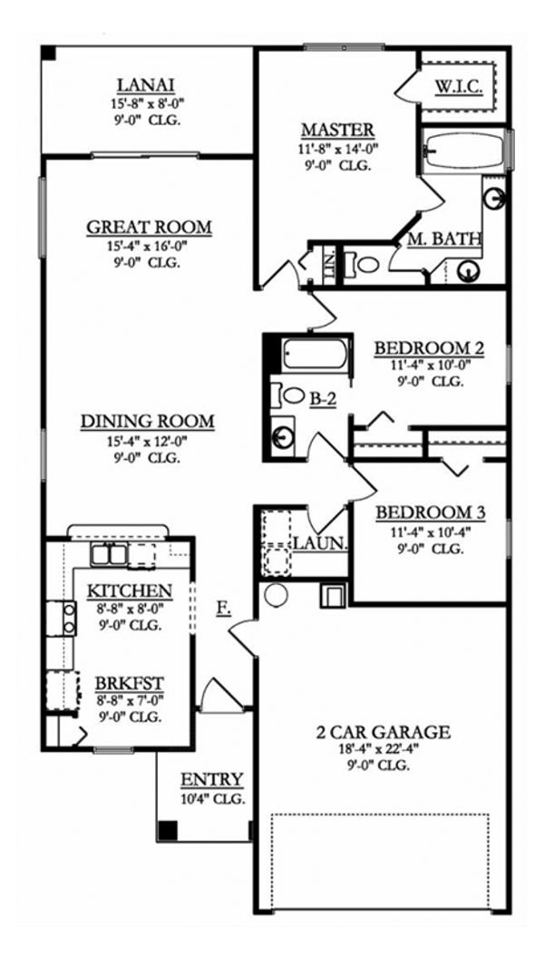 Mediterranean Floor Plan - Main Floor Plan Plan #1058-93