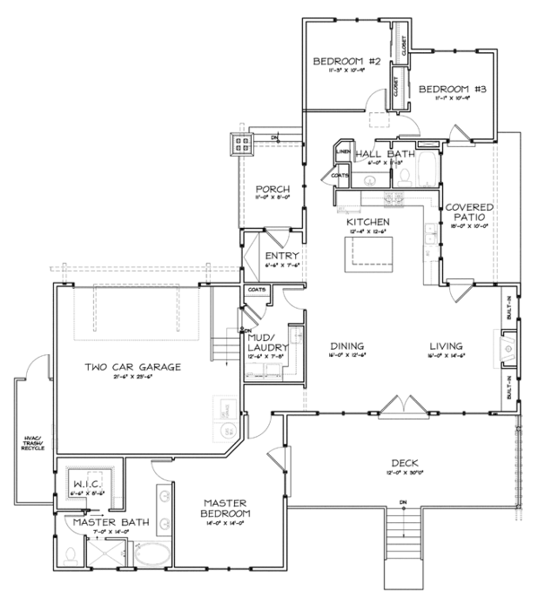 Craftsman Floor Plan - Main Floor Plan Plan #895-81